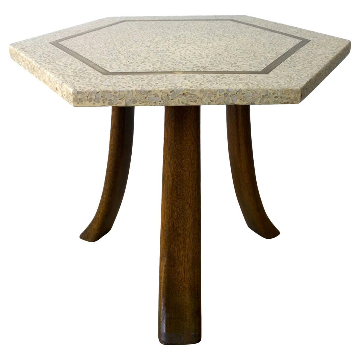 Probber Blue & White Terrazzo, Mahogany Tripod Legs and Brass Hexagon Side Table
