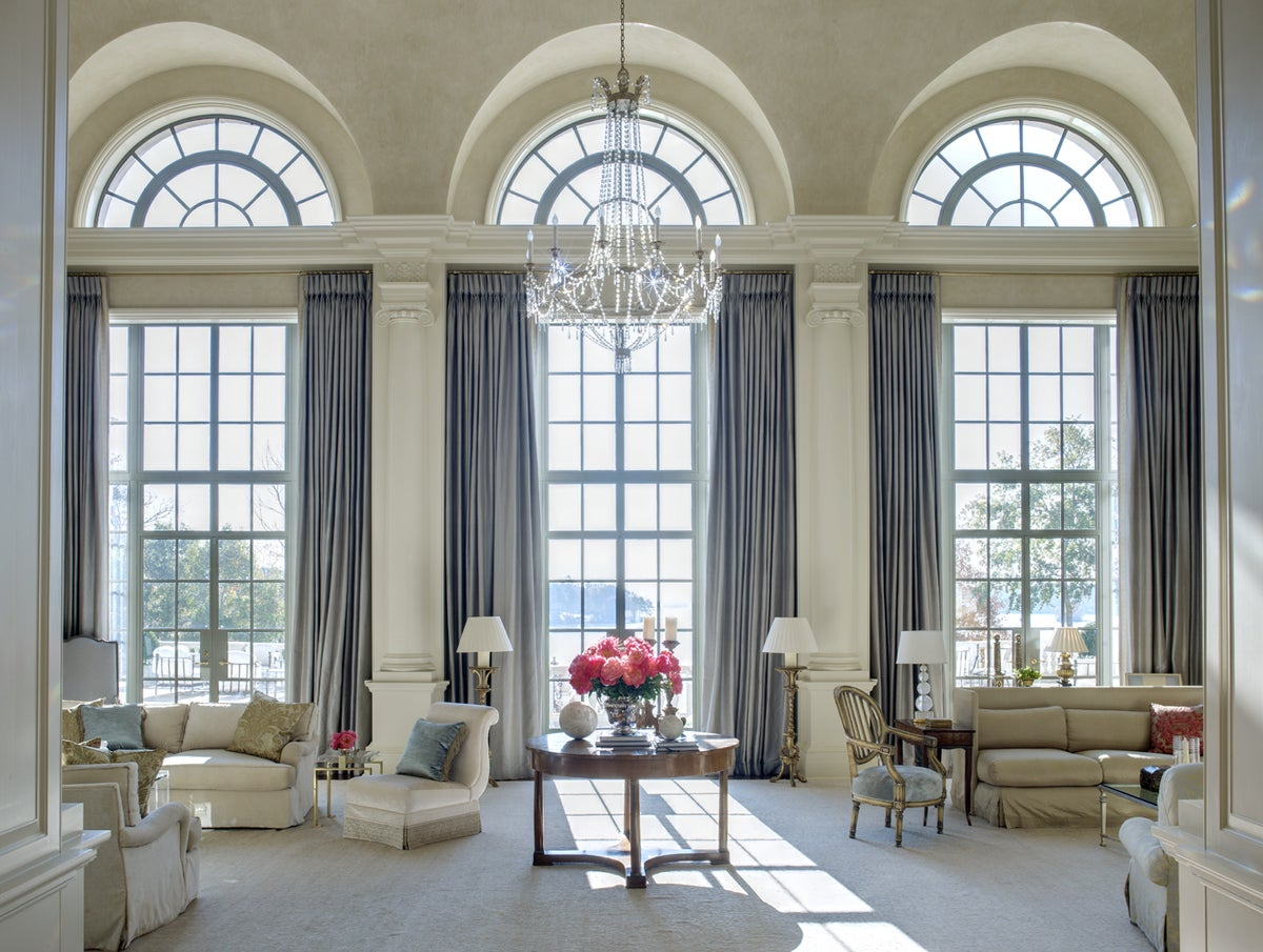 French living room in columbus ga by suzanne kasler interiors for Arch door design