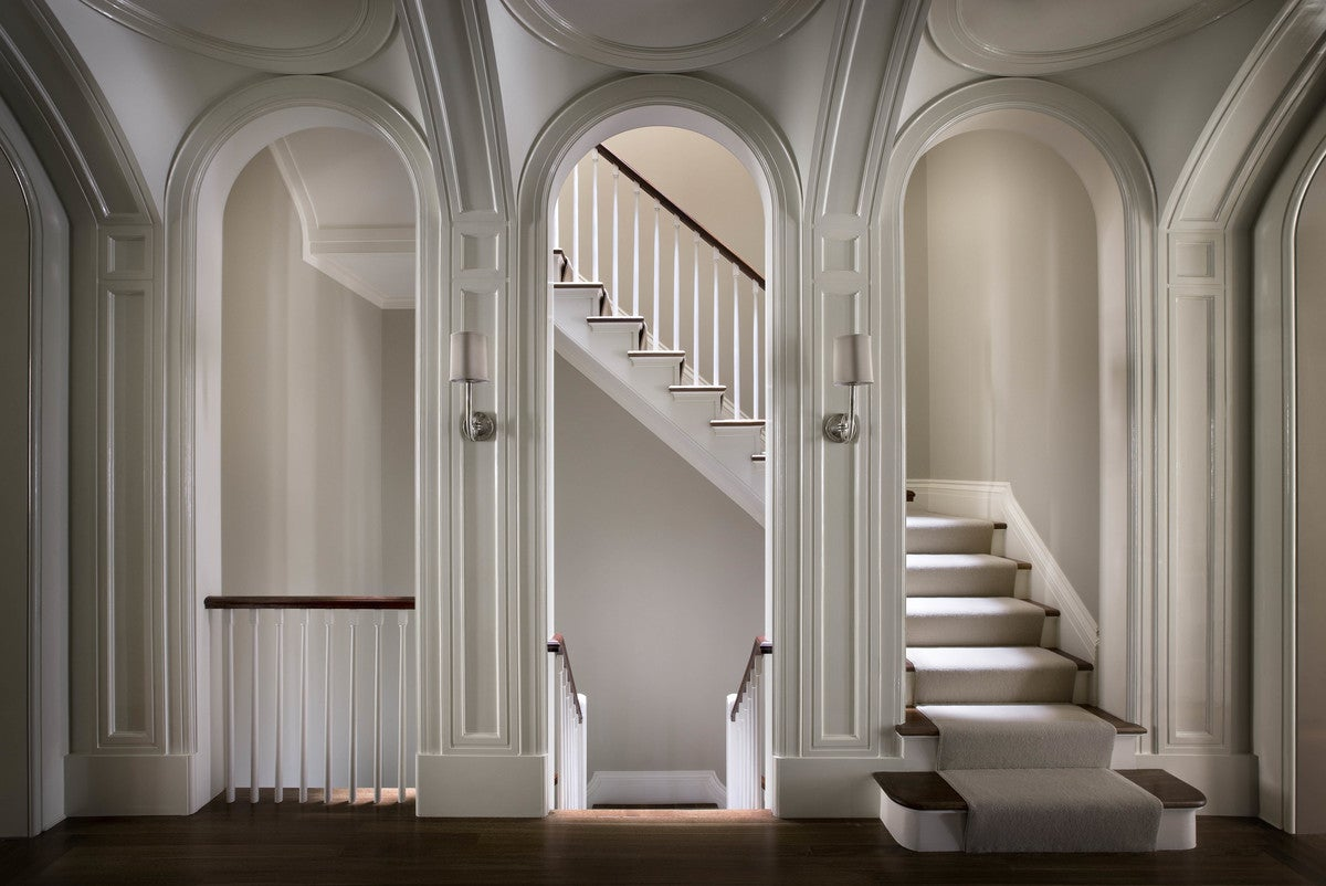 Arched Stair Hall Modern Entry And In New York NY