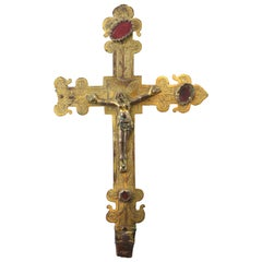Processional Cross with Christ, Gilded Copper, 14th Century