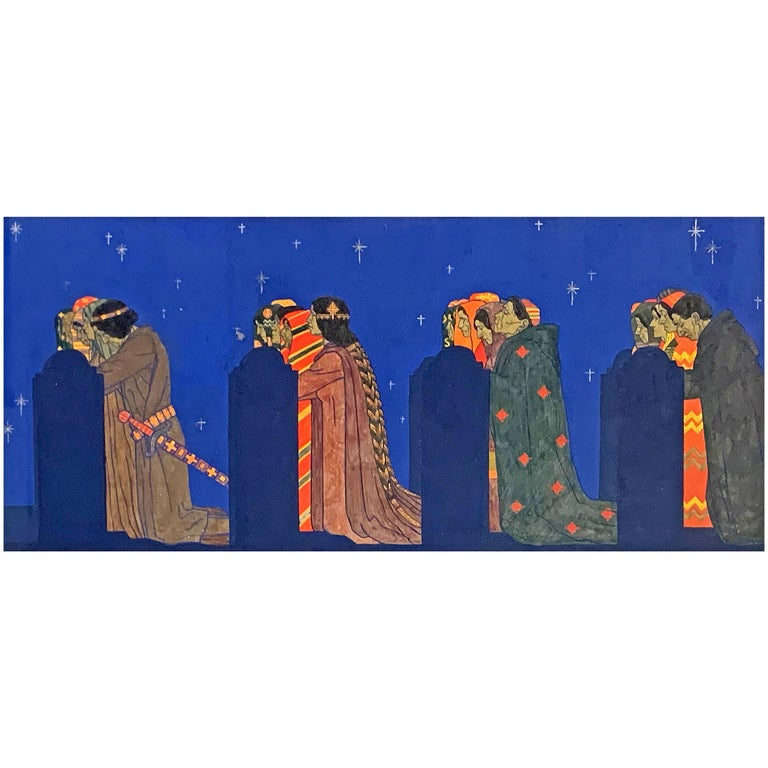 """Processional,"" Jewel-Toned Mural Study w/ Prayer Under Starlit Sky by Hoeckner For Sale"