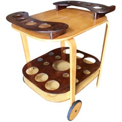 Midcentury Bent Birch Plywood Two-Tone Bar Cart
