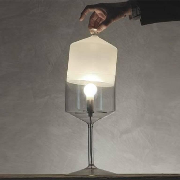"""Design by Michele De Lucchi  Borosilicate glass  13.8"""" h x 6.7"""" Ø  1 X 60W max  120V  E12(candelabra base) incandescent lamp (not included)  Made in Italy."""