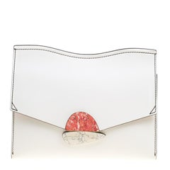 Proenza Optic White Smooth Leather Medium Curl Clutch