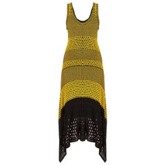 Proenza Schouler Asymmetric Crochet Knit Midi Dress