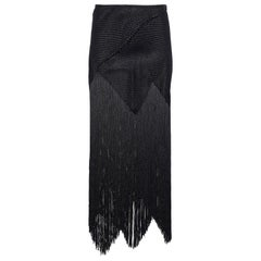 Proenza Schouler Asymmetric Fringed Basketweave Woven Midi Skirt