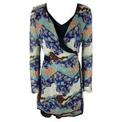 Proenza Schouler Black and Multicolored Wrap Round Mini Dress, Size 6