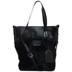Proenza Schouler Black Leather/Pony Hair Triford Medium Shopping Tote Bag