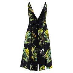Proenza Schouler Black Tropical Print Cut-Out Dress - US size 4