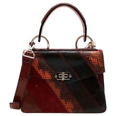 Proenza Schouler Burgundy Leather & Snakeskin Patchwork Small Hava Bag