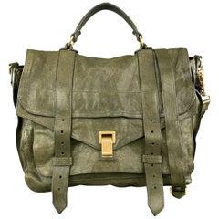PROENZA SCHOULER Distressed Olive Green Leather Large PS1 Satchel Bag