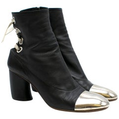 Proenza Schouler metal-cap lace-back leather ankle boots Size 41