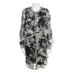 Proenza Schouler Monochrome Abstract Print Sheer Silk Embellished Waterfall Jack