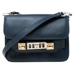 Proenza Schouler Navy Blue Leather Mini Classic PS11 Shoulder Bag