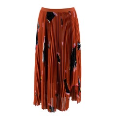 Proenza Schouler Rust Graphic Print Pleated Skirt - Size US 6