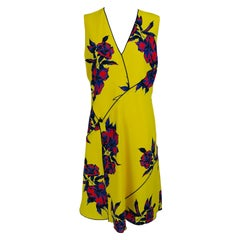 Proenza Schouler Yellow Red Blue Floral Silk Dress  10