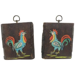 Professional Antique Folk Art Painted Roosters on Old Barn Planks