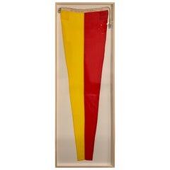 Professionally Framed Large Vintage WWII Nautical Signal Flag