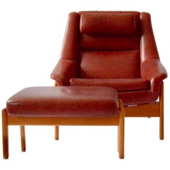 Mid-century Modern, Swedish Ottoman Leather and Oak Chair by Folke Ohlsson, Red