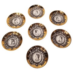 Profili Romani Group of 8 Italian Ceramic Coasters by Fornasetti, Milano