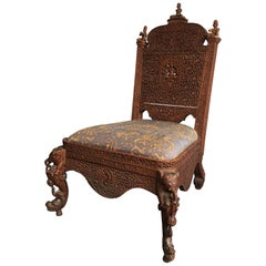 Profusely Pierced Carved Indian Rosewood Low Side Chair, circa 1880