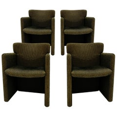 Progetti Tecno Modern Set of Four Pattern Cotton Fabric Italian Chairs