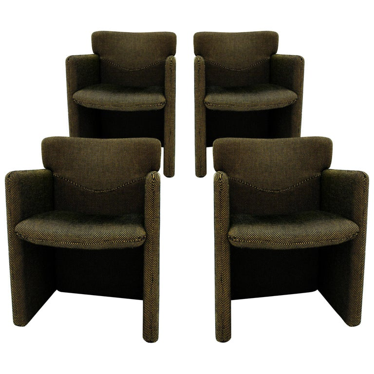 Progetti Tecno Modern Set of Four Pattern Cotton Fabric Italian Chairs For Sale