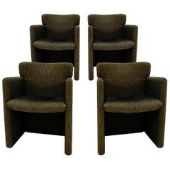 Progetti Tecno Modern Set of Four Pattern Cotton Fabric Italian Chairs