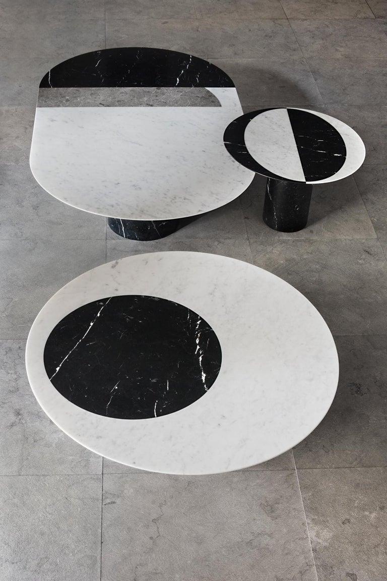 Italian Proiezioni Side Table in Nero Marquina and Bianco Carrara Marble by Elisa Ossino For Sale