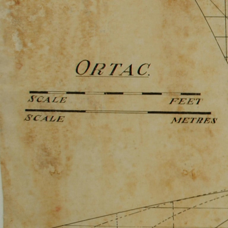 Project of the ship Ortac; launched in 1937 at the Morgan Giles shipyard, length 10.68m overall, width 3.39m, it has a mast rather tail-heavy and it won many races of RORC class. Measures: Cm 104.3 x 67.8 H - inches 41 x 26.69 H. Project coming