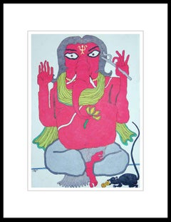 "Ganesha, God of Success, Mixed Media on paper, Orange, Green, Black ""In Stock"""