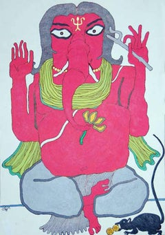 """Ganesha, God of Success, Painting, Orange, Yellow Color, Indian Art """"In Stock"""""""