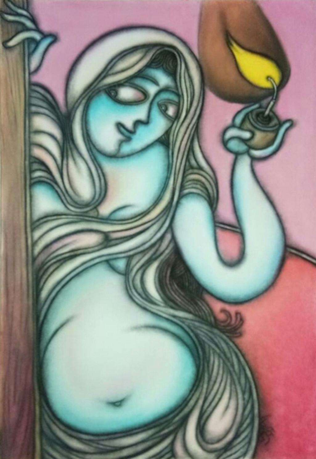 """Lady with the Lamp, Dry Pastel on Paper by Prokash Karmakar """"In Stock"""""""