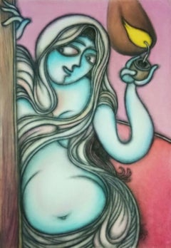 """Untitled, Dry Pastel on Paper, Black, Brown by Modern Indian Artist """"In Stock"""""""