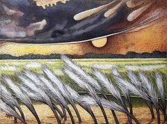 """Landscape, Acrylic on Canvas, Green, Yellow by Modern Indian Artist """"In Stock"""""""