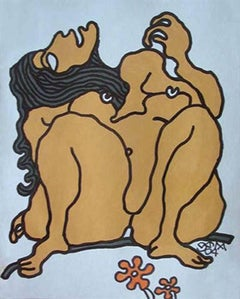"""Large Eyed Nude Women, Long Hair, Mixed Media Painting, Bright Brown """"In Stock"""""""