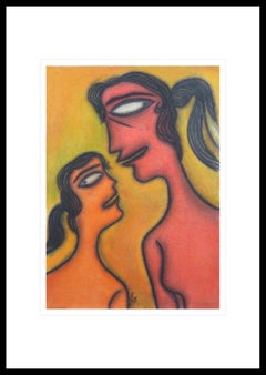 """Mother & Child, Pastel on Board, Orange, Red by Master Indian Artist """"In Stock"""""""