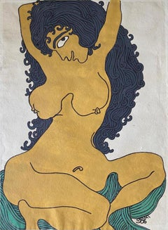 """Nude, Acrylic on Paper by Modern Indian Artist """"In Stock"""""""