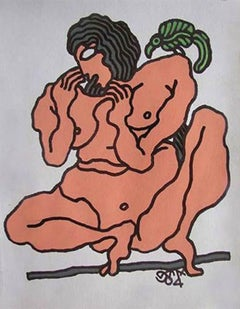 """Nude Woman, Bird, Painting,Mixed Media, Brown, Green by Indian Artist """"In Stock"""""""