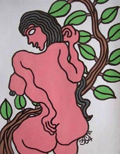 Nude women with the tree by Indian master artist Prokash Karmakar