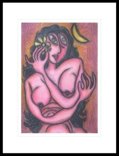 "Nude Woman with Flower, Pastel on Board, Pink, Green, Indian Artist ""In Stock"""