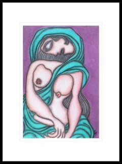 "Indian Nude Woman in Green Saree,Pastel on Board, Master Indian Artist""In Stock"""