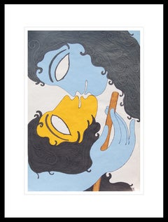 "Radha-Krishna, Mixed Media on Paper, Blue, Mustard by Indian Master ""In Stock"""