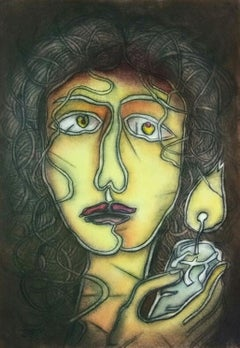 """Untitled, Dry Pastel on Paper, Black, Yellow by Modern Indian Artist """"In Stock"""""""