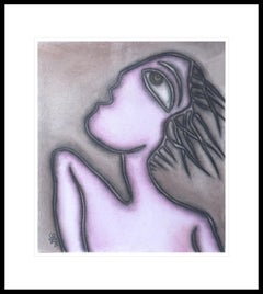 """Women, Large Fish shaped Eyes, Pastel on Board by Master Indian Artist""""In Stock"""""""