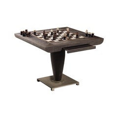 Promemoria Bassano Da Gioco Game Table in Sucupira Wood & Bronze by Romeo Sozzi