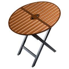 Promemoria Battista Lotus Folding Table in Matte Black and Maple by Romeo Sozzi