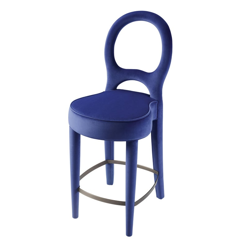 For Sale: Blue (rainbow 3.jpg) Promemoria Bilou Bilou Stool Covered in Fabric by Romeo Sozzi