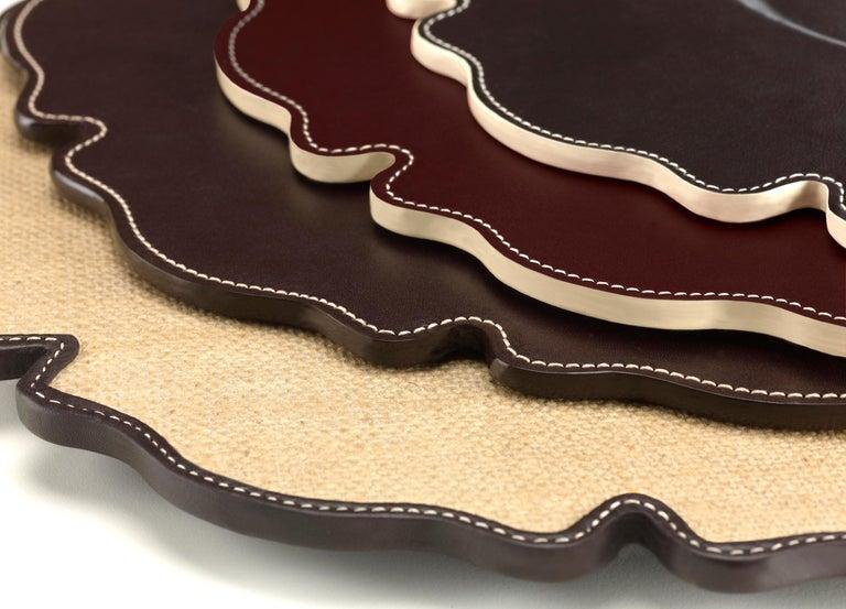 Italian Promemoria Ibisco Underplate in Leather by Romeo Rozzi For Sale