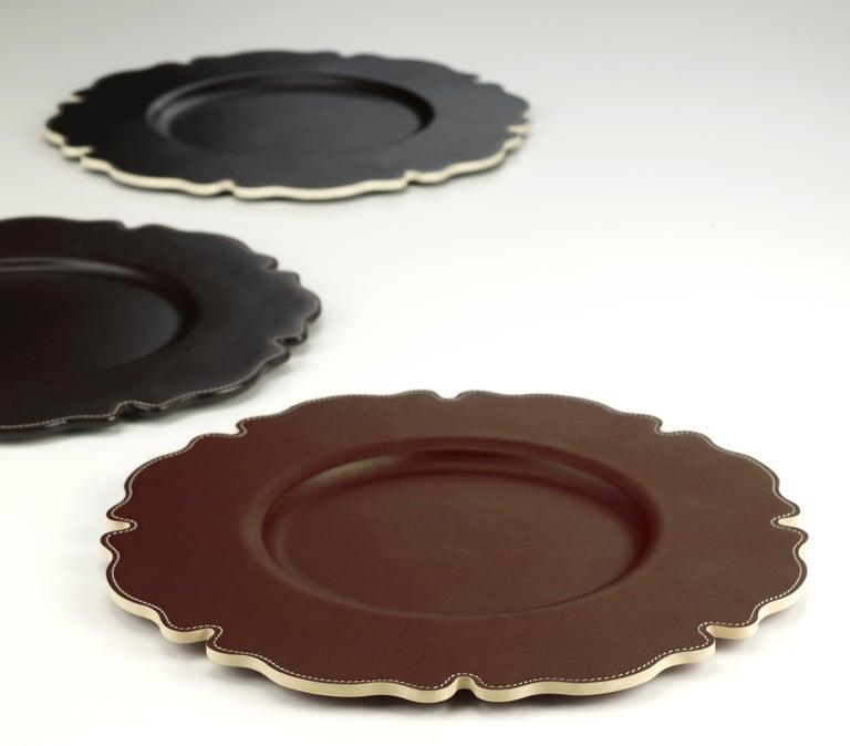Promemoria Ibisco Underplate in Leather by Romeo Rozzi In New Condition For Sale In Valmadrera (LC), IT
